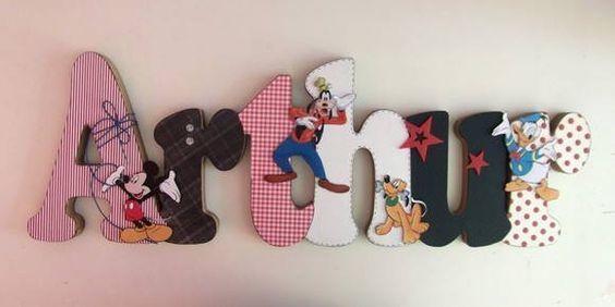 Nome em MDF, decorado em papel de scrap.  Pode ser utilizado para decorar quarto, porta de maternidade e festa infantil.  Fazemos no tema e nas cores desejadas R$ 72,00