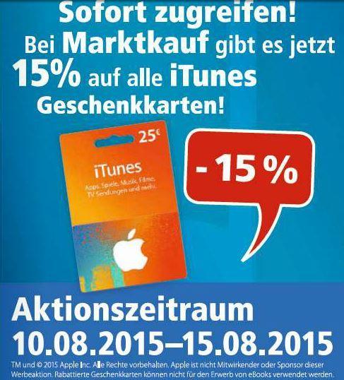 iTunes: 15 % Rabatt bei Edeka und Marktkauf - https://apfeleimer.de/2015/08/itunes-15-rabatt-bei-edeka-und-marktkauf - Nachdem in den vergangenen Wochen bereits Müller und Real mit vergünstigtem iTunes-Guthaben punkten konnten, ziehen nun Edeka und Marktkauf nach. Diese Woche könnt Ihr beim Kauf einer iTunes-Guthabenkarte ganze 15% sparen, wenn Ihr diese in Eurem Marktkauf oder Edeka-Markt einkauft. Statt wie bi...