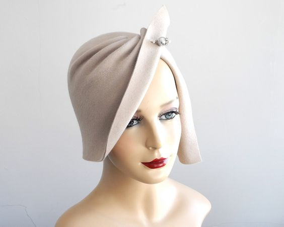 Felt Cloche Hat- Spring Fashion- Spring Accessories- Great Gatsby- Women- Flapper Hat- Hand Draped Hat- 1920s Cloche Hat- Spring Hat by KatarinaHats on Etsy