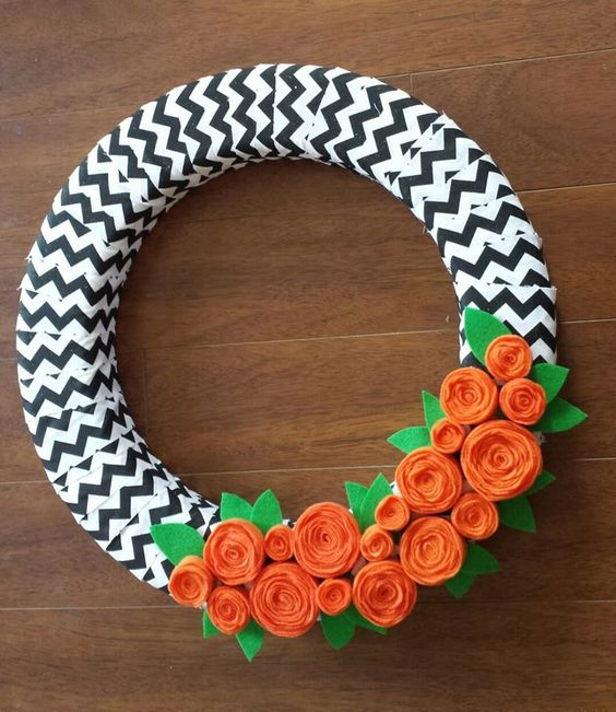 HALLOWEEN CHEVRON FELT Flower Wreath- Spring Wreath- Felt Wreath- Halloween Wreath by TheOrangeOrchid on Etsy https://www.etsy.com/listing/238421658/halloween-chevron-felt-flower-wreath