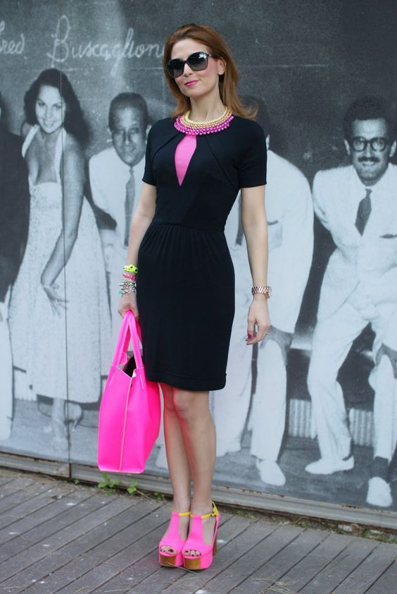 Neon bag, neon shoes, black dress | My Style...even if I can't ...