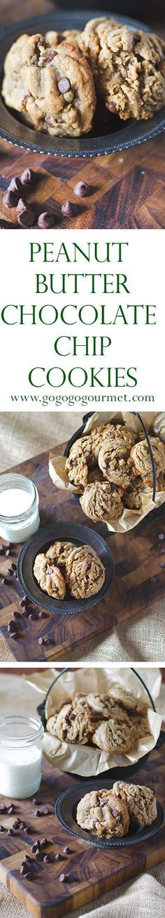 Peanut Butter Cookies? or Chocolate Chip Cookies? Never be faced with such an awful decision again. Peanut Butter Chocolate Chip Cookies | Go Go Go Gourmet @gogogogourmet