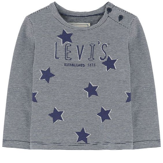 Cotton jersey  Pleasant to the touch Straight fit Crew neck Long sleeves Buttons on the shoulder Stripes Brand print on the front Star print Small logo patch on the heels - 25,00 €