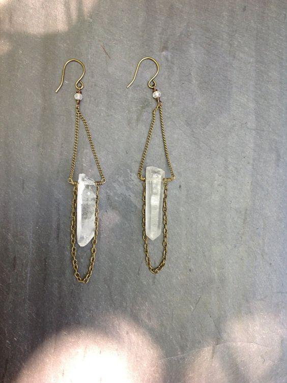 Raw Quartz Crystal Brass Chain Loop by LoopHandmadeJewelry on Etsy, $28.00
