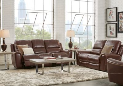 Lanzo Merlot Leather 3 Pc Living Room With Reclining Sofa Living Room Leather Living Room Sets Furniture Furniture