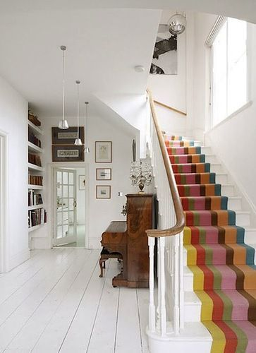 Inspiring Ways to Spruce Up Your Stairs: Stair Carpet, Home Decor, Stair Runners, Striped Stair, Colorful Stair, Staircas, Stairrunners, Painted Stairs