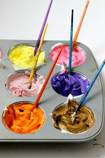 Shaving cream bathtub paint diy crafting mom and cream for Shaving cream paint