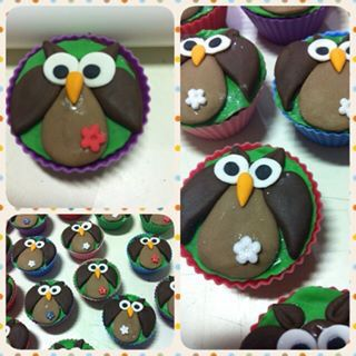 Cup cake de corujas