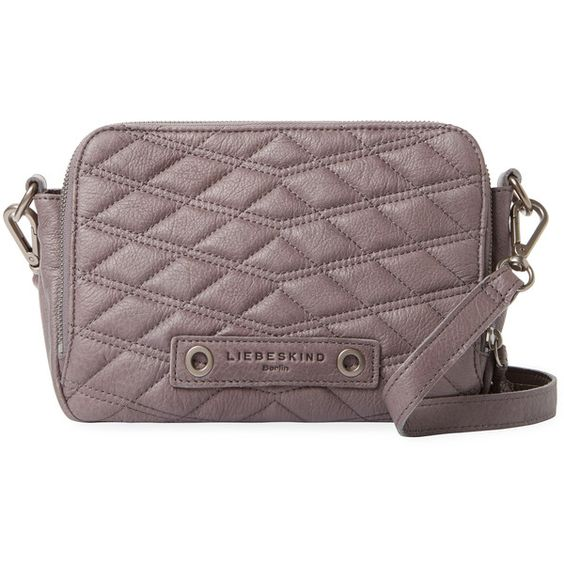 Liebeskind Women's Annett Small Leather Crossbody - Grey ($60) ❤ liked on Polyvore featuring bags, handbags, shoulder bags, grey, grey leather handbags, leather handbags, grey shoulder bag, genuine leather handbags and leather shoulder bag