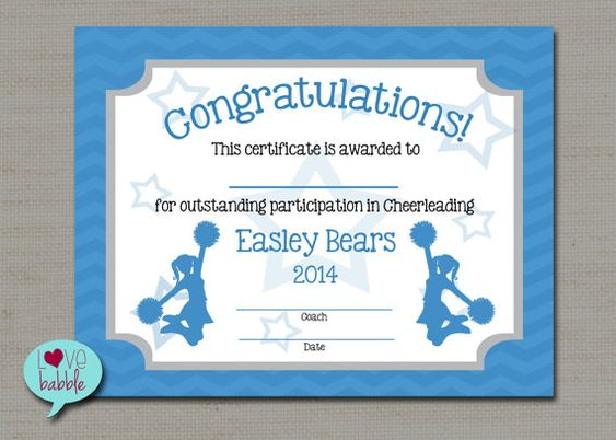 Cheerleading cheer award certificate dance gymnastics award printable digital file 85quot x 11 for Cheerleading certificates