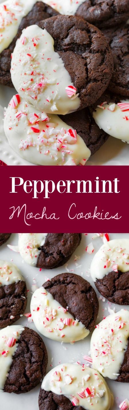 Soft-baked and chewy peppermint mocha cookies! The candy cane crunch and white chocolate put them over the top!