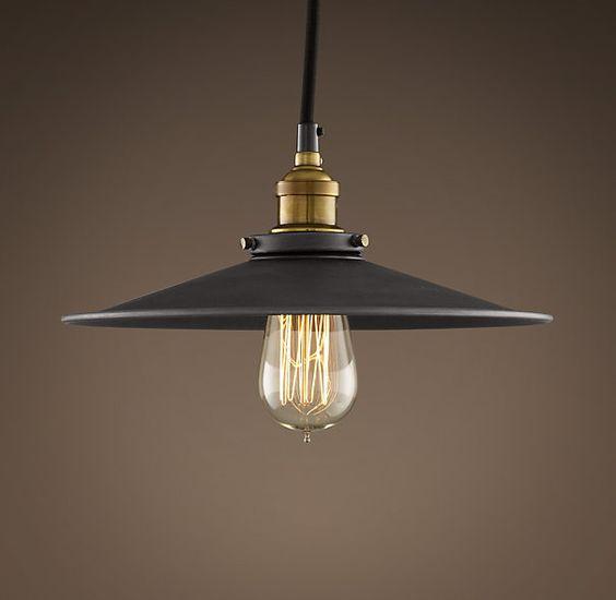 "Restoration Hardware Discontinued Lighting: Metal Filament 11"" Pendant Aged Steel"