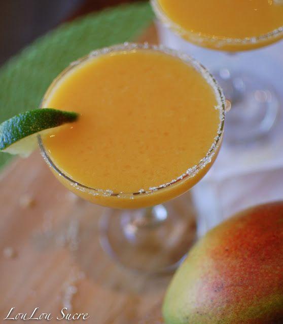 Thirsty Thursday--Frozen Mango Margaritas with Ginger Orange Sugar