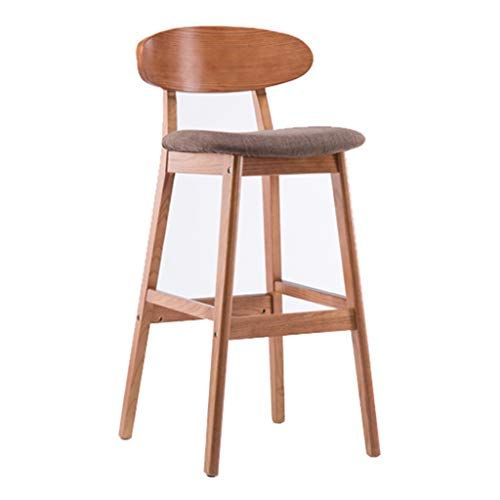 Kitchen Bar High Stools With Backrest Wooden Footrest Dining Chair