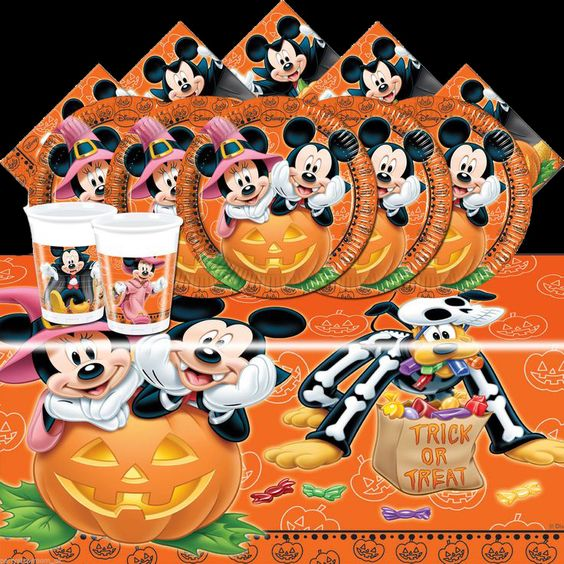 The UK has really begun to embrace Halloween -- at least, Mickey Mouse Halloween!  Look at this Mickey Mouse Halloween Complete Party Tableware Pack.  It is only available on eBay, but the items are worth getting.  Too cool! Mickey Mouse Halloween Theme Party & Decoration Ideas