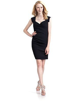 Nicole Miller Ruched Cap Sleeve Dress/Black