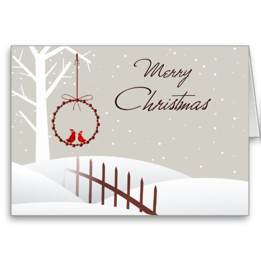 Red Bird Couple Merry Christmas Greeting Card