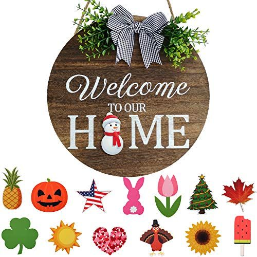 Seasonal Welcome Door Sign Interchangeable Welcome To Our Home Wood Round Wreath With Buffalo Check In 2021 Welcome Door Signs Wooden Welcome Signs Diy Signs Lettering
