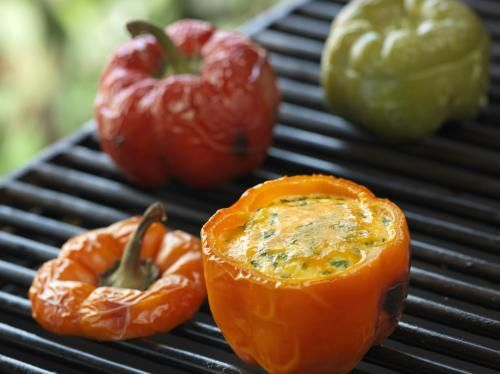 Grilled Eggs in Sweet Peppers
