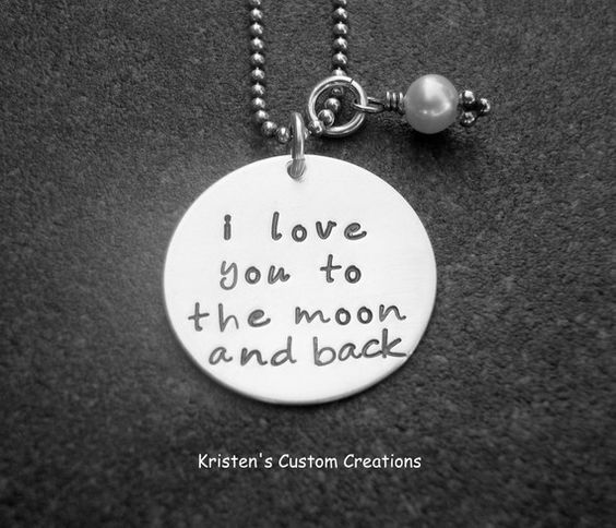 I Love You To The Moon And Back Hand Stamped by klacustomcreations, $45.90