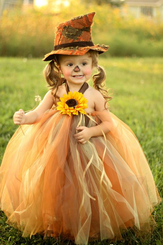 Too adorable for words! Scarecrow Tutu Dress and Matching Hat. Great Halloween idea.