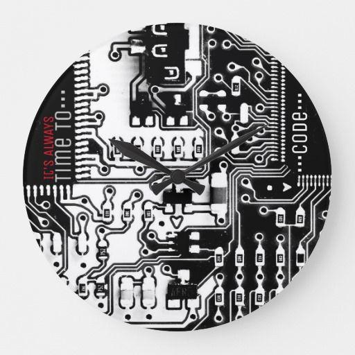Time To Code Custom Black And White Pcb Clock Cool Black White Printed Circuit Board Electronic Pcb Large Clock Differe Large Clock Custom Clocks Prints