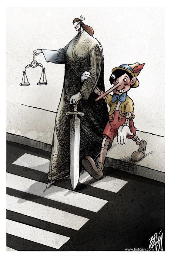 Angel Boligan - El Universal, Mexico City, www.caglecartoons.com - El asesor / COLOR - Spanish - justicia, pinocho, corrupción, mentira, fraude, ciega,: