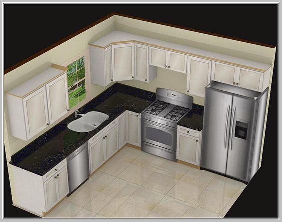 This L shaped kitchen layout is definitely stylish with white cabinets and black speckled countertops. It provides a classic layout that's very functional and easy to use.