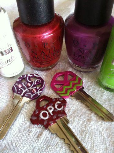 nail polish keys - good idea for a roommate night!