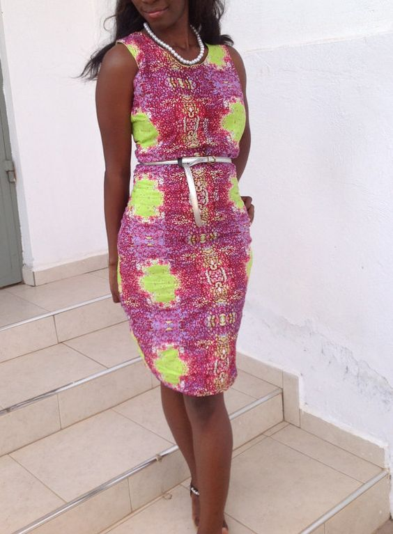 African Print Pencil Dress with Crew Neckline - 45 off by Zoharous, $40.00