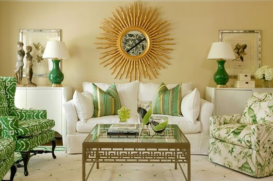 side table decor- lamp, picture, boxes, flowers: Sunburst Mirror, Coffee Table, Livingroom, Living Room, Family Room, Room Design, Green Room
