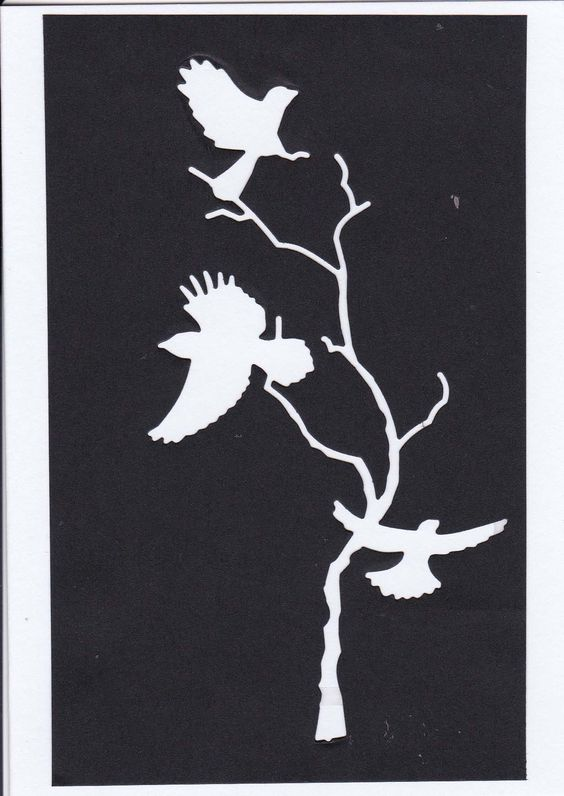 silhouette card -forest crows die(memory Box)