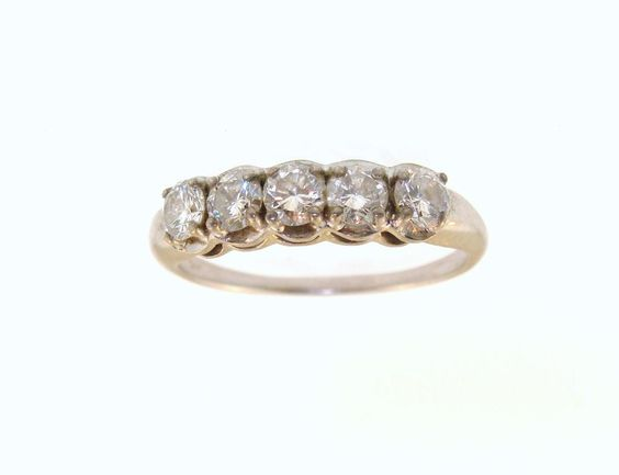 Ladies 14k White Gold 1ct Diamond Wedding Anniversary Band Ring Sz from estatejewelrybuyers on Ruby Lane