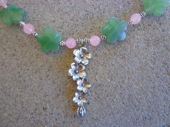 Aventurine flowers and pale pink agate statement necklace, bracelet and earrings by CharismaBolivia, $95.00