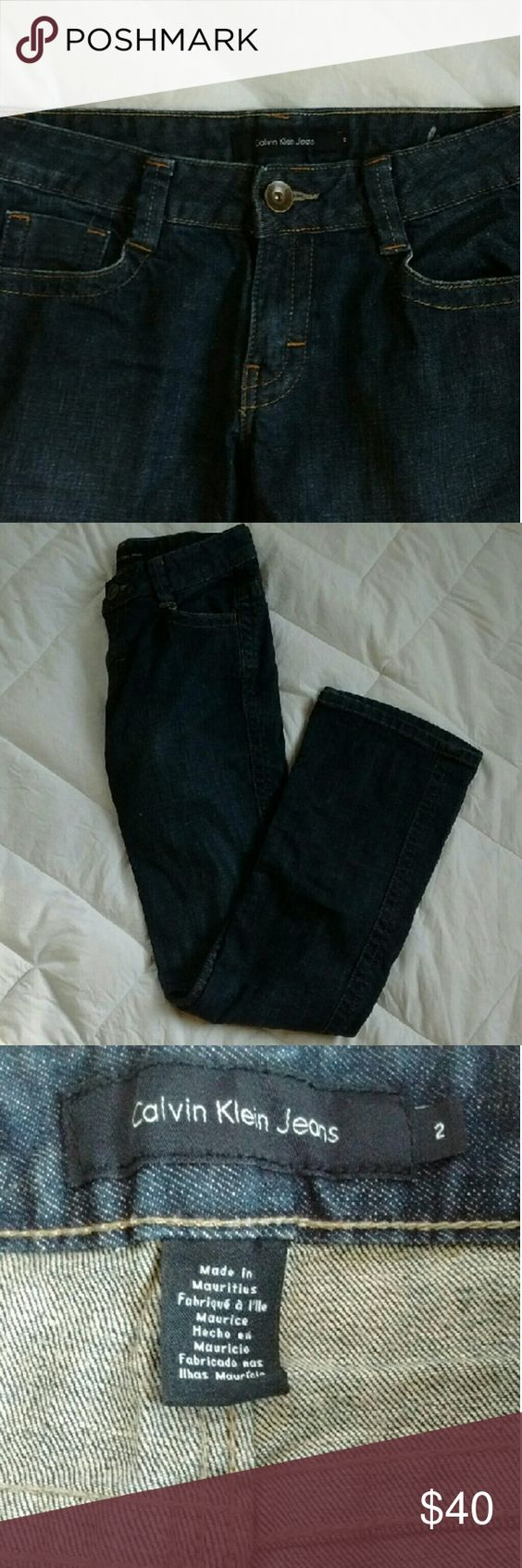 """Calvin Klein Jeans. Bootcut. Dark denim with brown stitching. Very cute & comfy. Was gonna keep but decided to Posh. Measurements: Waist 14"""" flat 28"""" round Thigh 8"""" wide Pants 39"""" long Make an offer ladies;; Calvin Klein Jeans Boot Cut"""