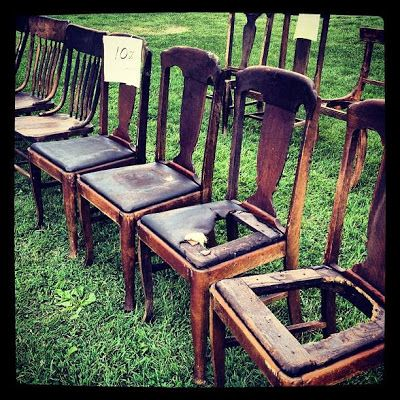 Raising Dick and Jane: Chair Graveyard Rescue {DIY Bench Project} Make a bench out of two old chairs
