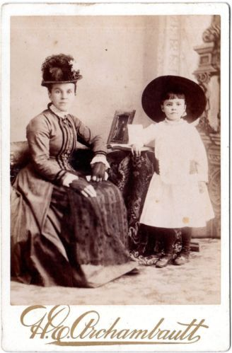 RARE Cabinet Photo Stylish Woman Cute Girl Montreal QC Gown Gloves Hats C1880s | eBay