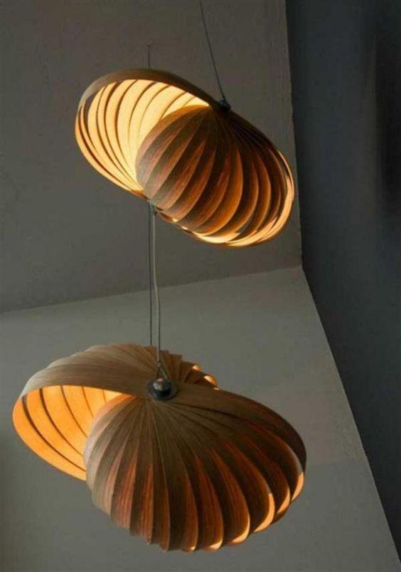 Permanent Link to : Contemporary Unique Lighting Design In Wood Veneer Ideas 18
