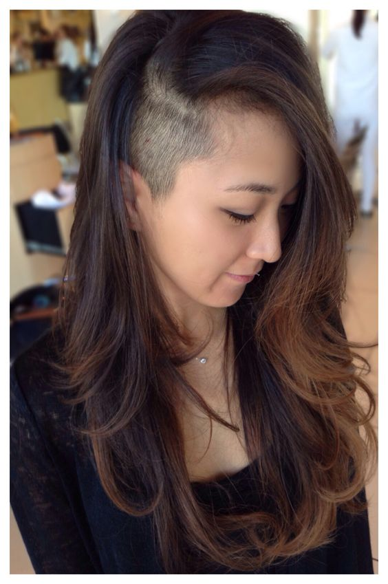 Long layered Asian hair with natural balayage highlights and sidecut or undercut. Loreal