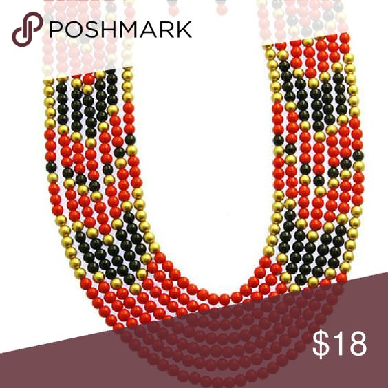 Multi Strand Bib Necklace  Set NECKLACE AND EARRING SET / MULTI STRAND / BIB / LUCITE BEAD / LINK / CHAIN / FISH HOOK / 20 INCH LONG / 2 INCH DROP / NICKEL AND LEAD COMPLIANT Jewelry Necklaces