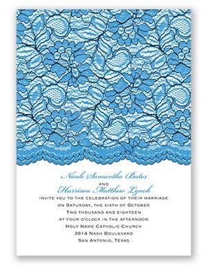 Embellished Lace Wedding Invitation by David's Bridal #somethingblue #blueweddings #weddinginvitation