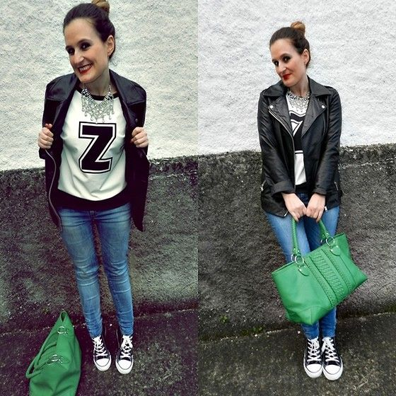 Sweatshirt!!! (by Tu Personal Shopper By Marta Antolinez) http://lookbook.nu/look/4766073-Zara-Sweatshirt-Necklace-Jeans-Leather-Jacket