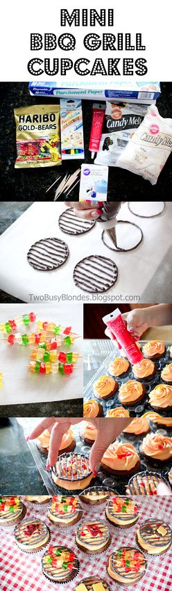 BBQ time!! Super cute cupcake tutorial - mini bbq grill tops. Steaks and hamburgers made with candy melts and kabobs with gummy bears. Cute!