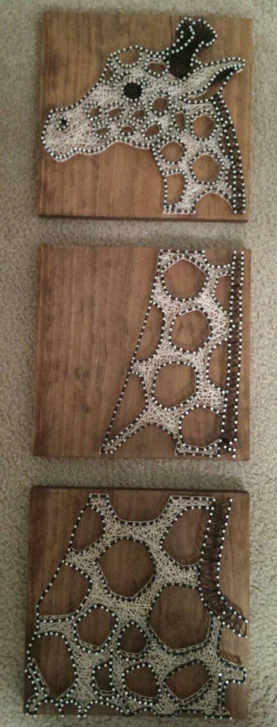 3 Panel Giraffe - Nail and String Art by brokenwingArts: