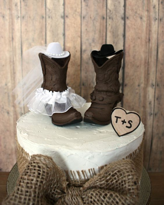 Country Western Wedding Cake Topper Cowgirl Boots Cowboy Boots Wedding Cake Topper Western