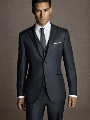 Micro-effect glossy wool/silk #suit. Blue two-button #jacket with