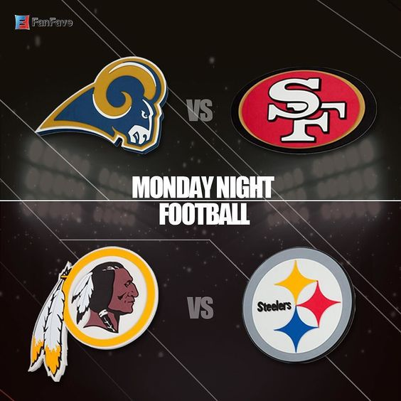 Monday Night Football is here! What are your predictions for the games? #fanfave #giveaway #rams #49ers #steelers #redskins #mnf #nfl #football #la #giveaway