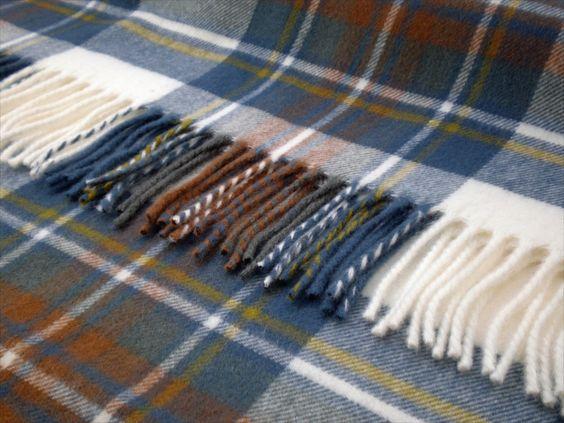 Bronte Throw Blanket - Tartan Throw - Merino Lambswool (Muted Blue Stewart)