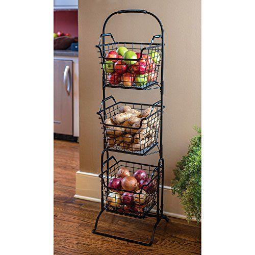 Farmer S Square 3 Tier Basket Floor Stand Giftburg Https Www Amazon Com Dp B073skc27x Ref Cm Sw Decorative Storage Baskets Kitchen Baskets Decorative Storage
