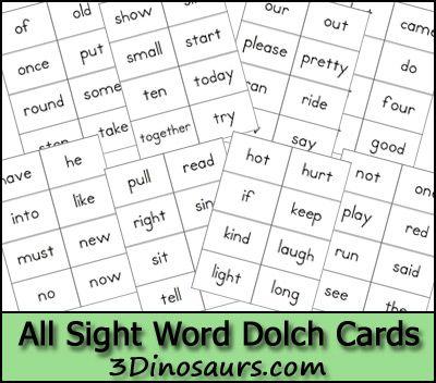 Free Sight Word Dolch Cards Home Preschool Preschool sight words